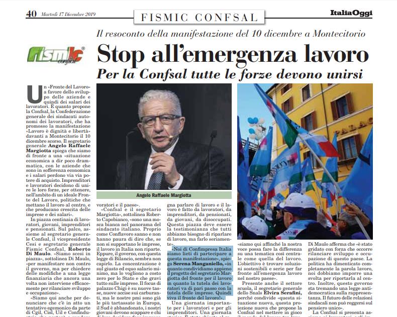 Intervista su ItaliaOggi alla dott.ssa Serena Manganiello