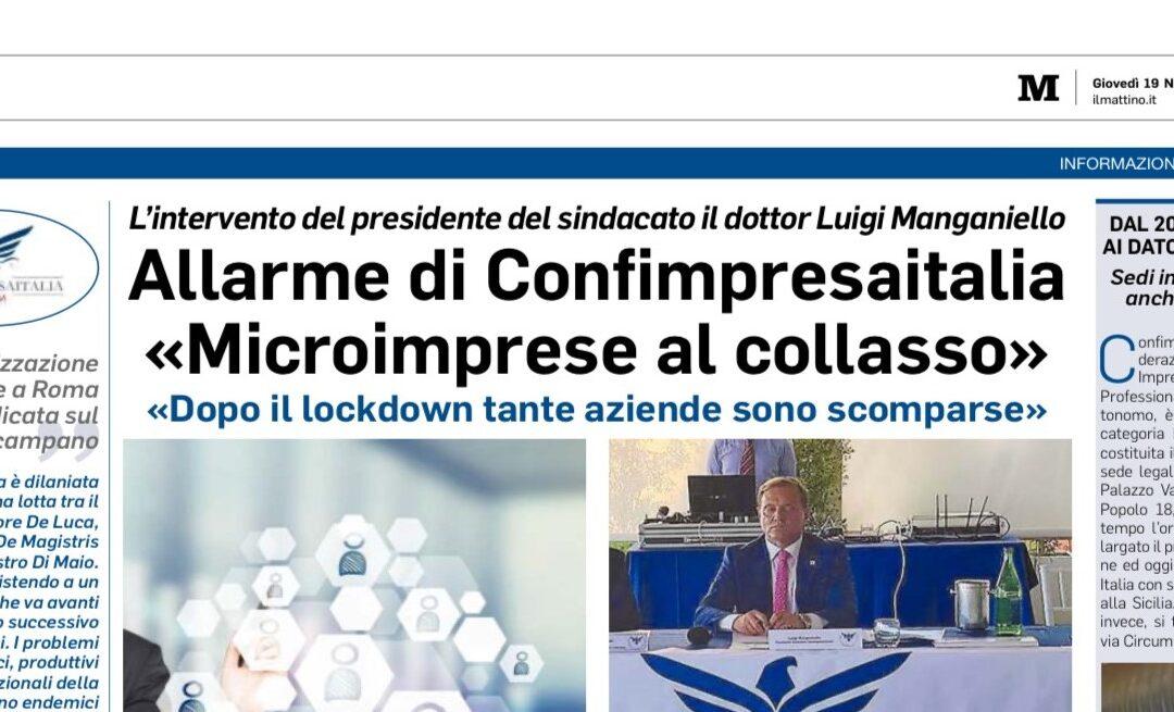 """Il Mattino – Allarme Confimpresaitalia: """"Microimprese al collasso"""""""
